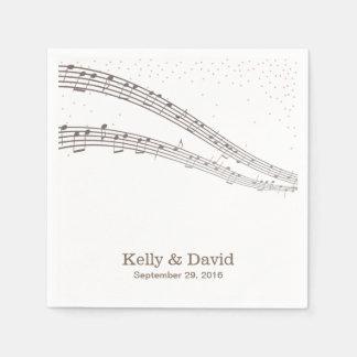 A música elegante nota os guardanapo de papel do