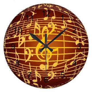 A música está em toda parte - símbolos musicais relógio de parede