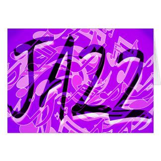 A música jazz nota a arte musical violeta roxa do cartao