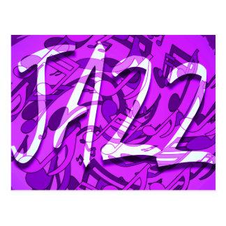 A música jazz nota o teste padrão musical roxo cartões postais