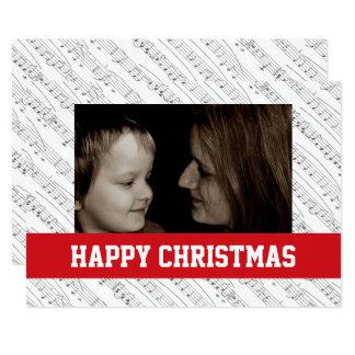 A música nota cartões de fotos da família do Natal Convite 12.7 X 17.78cm