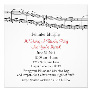 A música nota convites de festas