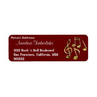 A música nota etiquetas de endereço do remetente
