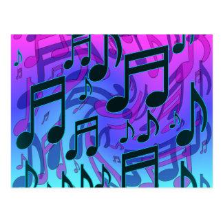 A música nota o azul musical sonhador do Aqua do Cartões Postais