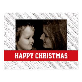 A música nota o cartão da foto de família do Natal Cartão Postal
