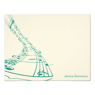 A música nota o cartão de nota liso (a cerceta) convite 10.79 x 13.97cm