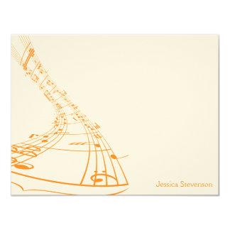 A música nota o cartão de nota liso (alaranjado) convite 10.79 x 13.97cm