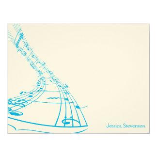 A música nota o cartão de nota liso (azul) convite 10.79 x 13.97cm