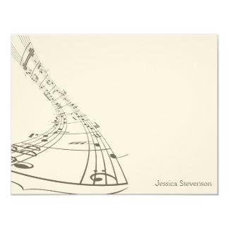 A música nota o cartão de nota liso (cinzento) convite 10.79 x 13.97cm
