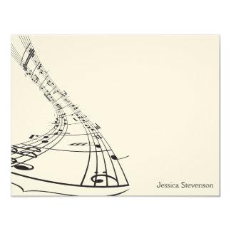 A música nota o cartão de nota liso (o preto) convite 10.79 x 13.97cm