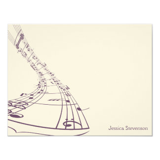 A música nota o cartão de nota liso (roxo) convite 10.79 x 13.97cm