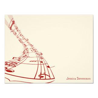 A música nota o cartão de nota liso (vermelho) convite 10.79 x 13.97cm