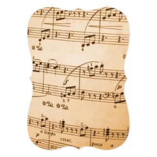 A música nota o fundo convite 12.7 x 17.78cm