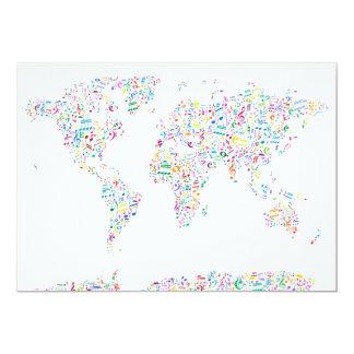 A música nota o mapa do mundo convites