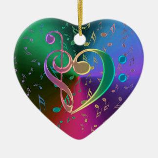 A música nota o ornamento do coração do Clef baixo