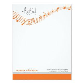 A música nota os cartões de nota lisos feitos sob convite 10.79 x 13.97cm