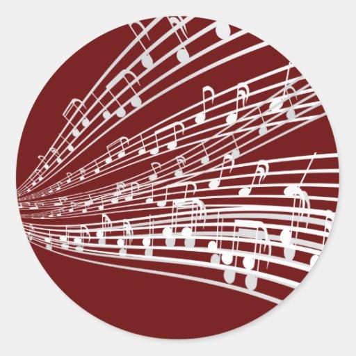 A música nota símbolos da notação musical do ~ adesivos em formato redondos