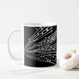 A música nota símbolos da notação musical do ~ caneca de café