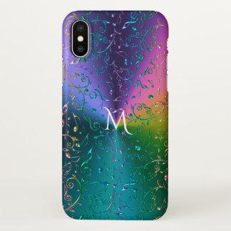A música reflexiva do arco-íris nota o monograma capa para iPhone x
