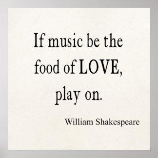 A música seja a comida de citações das citações de poster