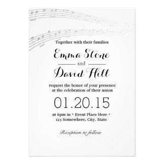 A música simples e elegante nota convites do casam