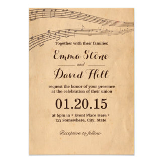 A música velha do vintage nota convites do