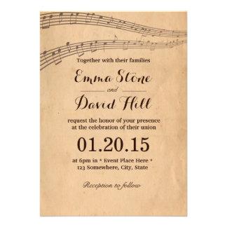 A música velha do vintage nota convites do casamen