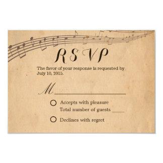 A música velha do vintage nota RSVP Wedding Convite 8.89 X 12.7cm