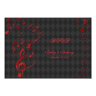 A música vermelha preta do Harlequin nota o cartão Convite Personalizado