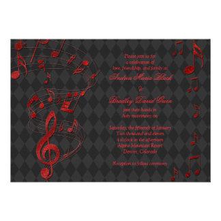 A música vermelha preta do Harlequin nota o convit Convite Personalizados