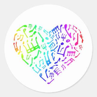 A música vívida do arco-íris nota a etiqueta do adesivo