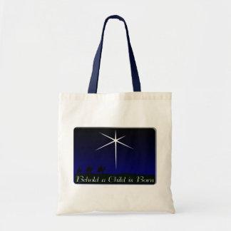 A natividade uma criança é nascida bolsas para compras