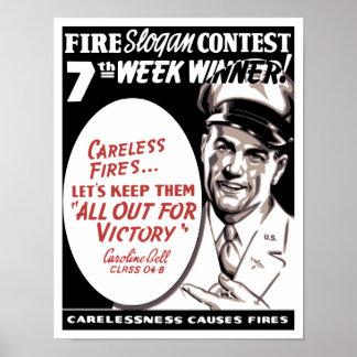 A negligência causa fogos -- WW2 Poster