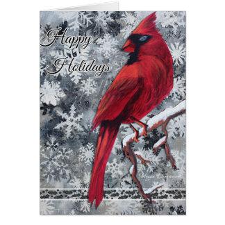 A neve cardinal lasca-se boas festas cartão