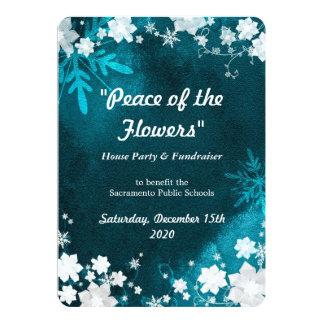 A neve floresce o evento do Fundraiser do inverno Convite 12.7 X 17.78cm