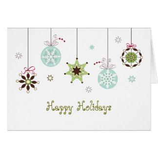 A neve lasca-se cartão de cartões de natal dos orn