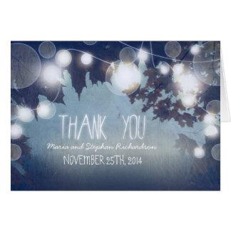 a noite azul ilumina o obrigado rústico você cartõ cartão de nota