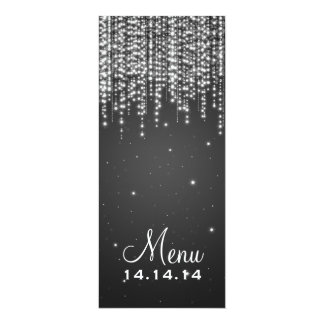 A noite elegante do menu do casamento brilha o convite 10.16 x 23.49cm