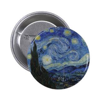 A noite estrelado Vincent van Gogh 1889 Bóton Redondo 5.08cm