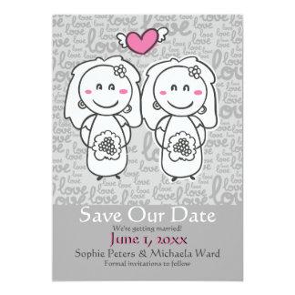 A noiva e os desenhos animados da noiva salvar o convite 12.7 x 17.78cm