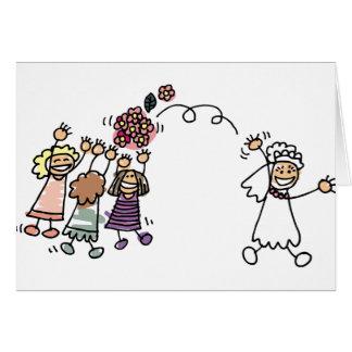 A noiva joga o buquê em Wedding Recption Cartão Comemorativo