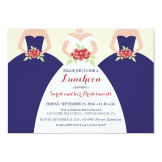 A noiva & o almoço nupcial das damas de honra convite 12.7 x 17.78cm