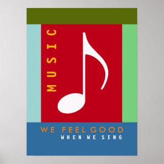 a nota musical, canta uma canção, música colorida poster