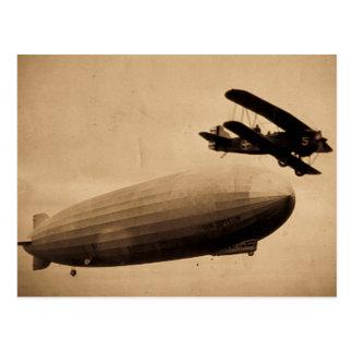 A Nova Iorque 1928 do Graf Zepelim Approaching Cartão Postal