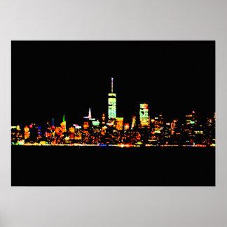 A Nova Iorque do poster de NYC ilumina a noite
