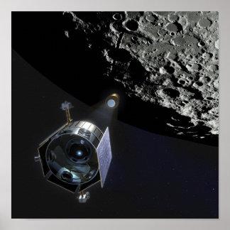 A observação da cratera lunar pôsteres