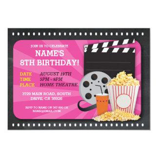 A opinião da festa de aniversário do cinema do convite 12.7 x 17.78cm