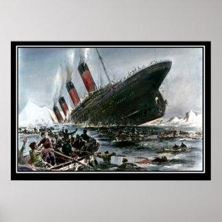 A opinião de naufrágio titânica do artista série pôster