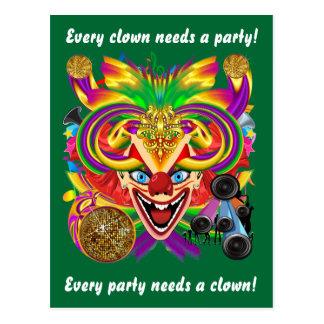 A opinião do palhaço do carnaval nota por favor cartão postal
