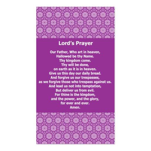A Oração Evangélico Testemunha Cartão do senhor Cartões De Visitas